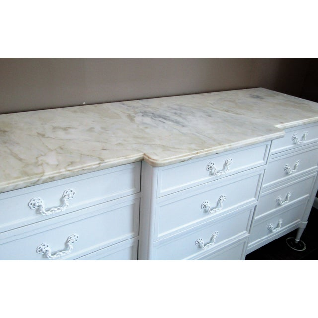 1970s 1970s Mid-Century Modern 12- Drawer Marble Top Chest For Sale - Image 5 of 8