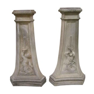 Pair of Terracotta Pedestals With Figures For Sale