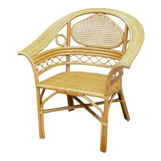 Vintage Palm Beach Chic Bentwood Cane Back Club Chair For Sale