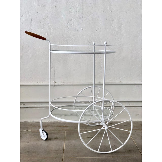 White Vintage Indoor Outdoor Patio Bar Cart with Wooden Handle For Sale - Image 10 of 13