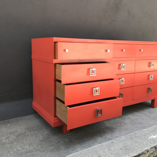 1960s Mid Century Restored Lacquered 12~Drawer Dresser For Sale - Image 5 of 13