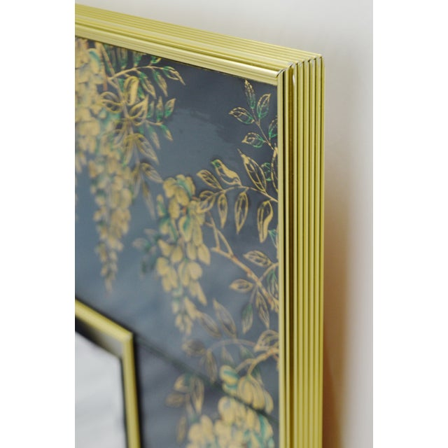 Vintage La Barge Reverse Painted Glass Frame With Beveled Mirror - Artist Signed For Sale - Image 10 of 13