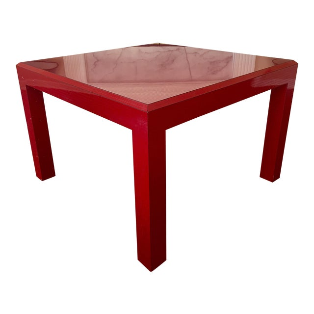 Postmodern Red Occasional Table With Graph Pattern For Sale