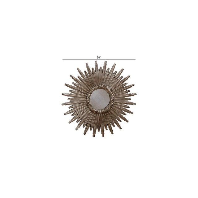 Mid-Century Modern Large Silver Sunburst Mirror For Sale - Image 3 of 9