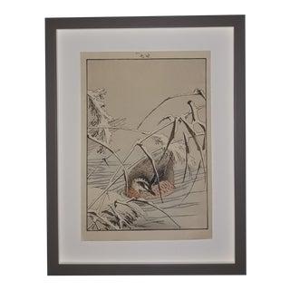 """Imao Keinen """"A Pair of Wild Ducks in the Snow"""" Custom Framed Original Art For Sale"""