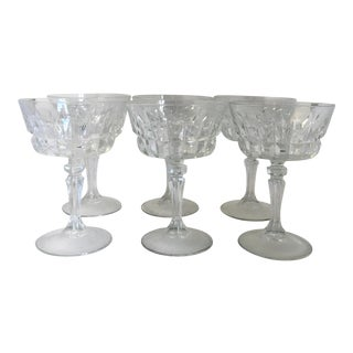 Vintage Faceted Glass Champagne Coupes - Set of 6 For Sale