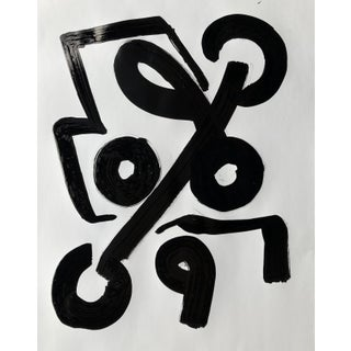 Abstract Ink Brush Painting Black & White Composition by Erik Sulander 22x28 For Sale