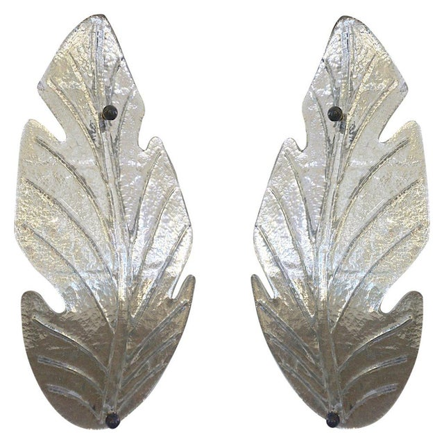 1980 Italian Vintage Nickel Pair of Tall Silver Color Murano Glass Leaf Sconces For Sale - Image 10 of 10
