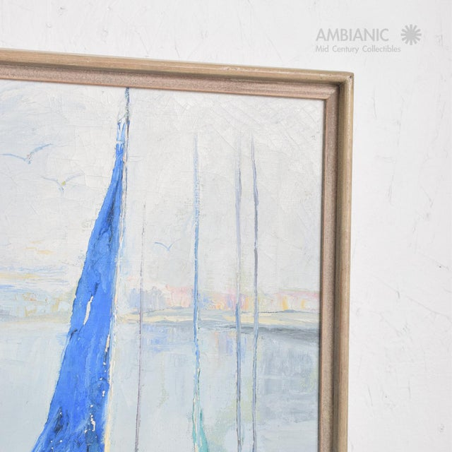 Blue Oil in Canvas Hazel Rakestraw, Sailing Boats California Modern For Sale - Image 8 of 9