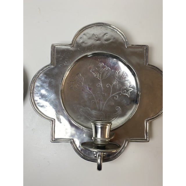 Pierre Deux Pewter Wall Candle Sconces - a Pair For Sale - Image 4 of 13