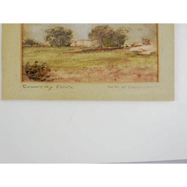 Small landscape of country estate gouache on board by William Rudolf O'Donovan (1844 - 1920) New York. Signed lower left...