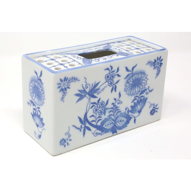 Japanese Japanese Blue and White Porcelain Flower Brick For Sale - Image 3 of 9