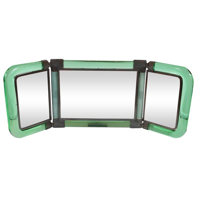 Italian Mid-Century Emerald Glass, Bronze and Glass Illuminated Vanity Mirror For Sale