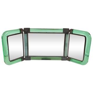 Italian Midcentury Emerald Glass, Bronze and Glass Illuminated Vanity Mirror For Sale