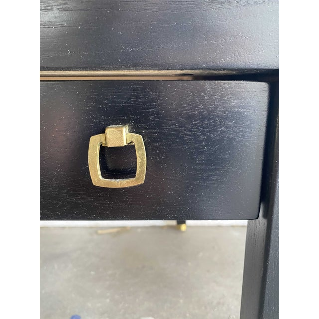 American of Martinsville MCM Ebony Side Tables With Brass Inlays and Pulls For Sale In Los Angeles - Image 6 of 13