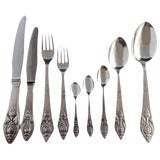 Image of Fuchsia by Georg Jensen Klokke Sterling Flatware Set Fitted Box Rare 104 Pieces For Sale