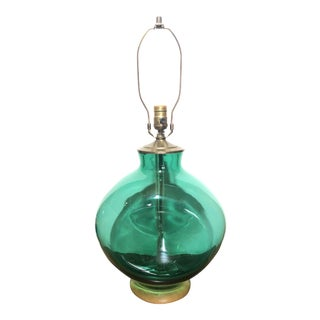 Mid-Century Modern Blenko Pinches Art Glass Lamp in Emerald Green For Sale