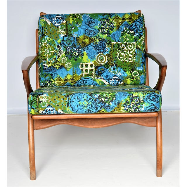 Boho Chic Mid Century Danish Modern Solid Teak Selig Style Lounge Chair --MCM Tropical Coastal Boho Chic Haute Bohemian For Sale - Image 3 of 12