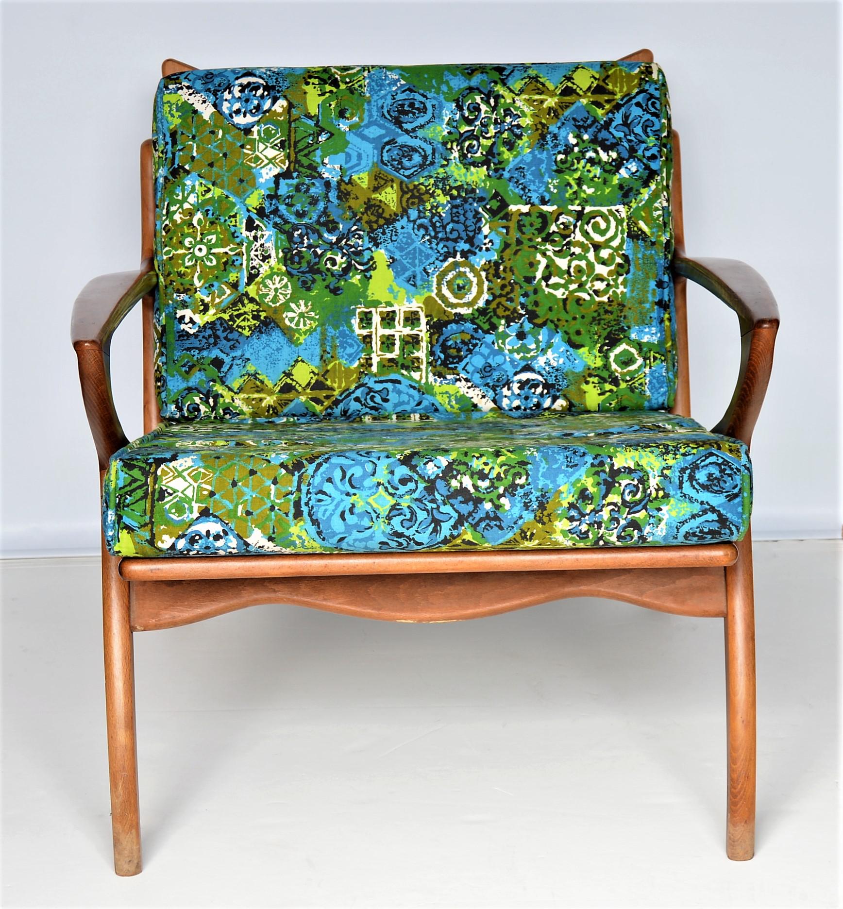 Boho Chic Mid Century Danish Modern Solid Teak Selig Style Lounge Chair    MCM Tropical