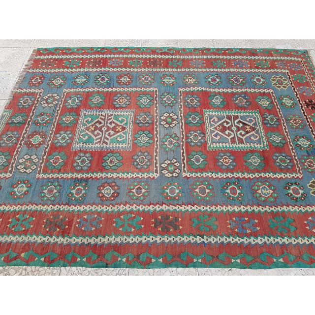 1970s Vintage Blue and Red Turkish Kilim Rug 5'7'' X 7'3'' For Sale - Image 5 of 13