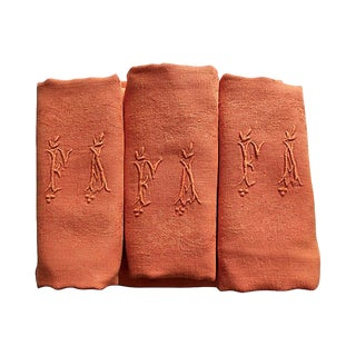 Antique French Pumpkin Linen Napkins - Set of 6 For Sale