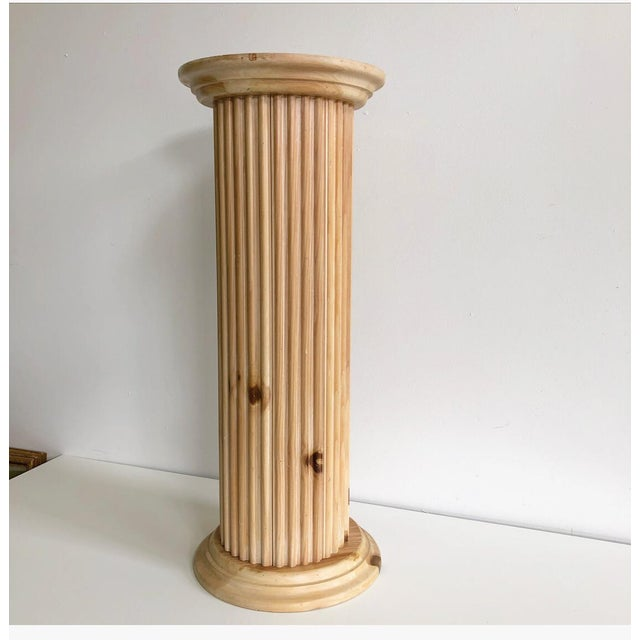 Vintage 1970s Italian wooden carved Greek style decorative column / pedestal. Amazing carved details in an unstained...