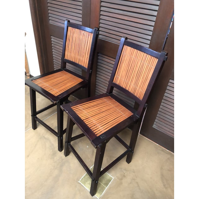 Asian Inspired Wood and Bamboo Bar Stools - A Pair For Sale In Saint Louis - Image 6 of 12