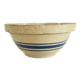 Antique Cream and Blue Striped Stoneware Crock Bowl