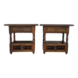 19th Century Catalan, Spanish Nightstands With Drawers and Open Shelf - a Pair For Sale