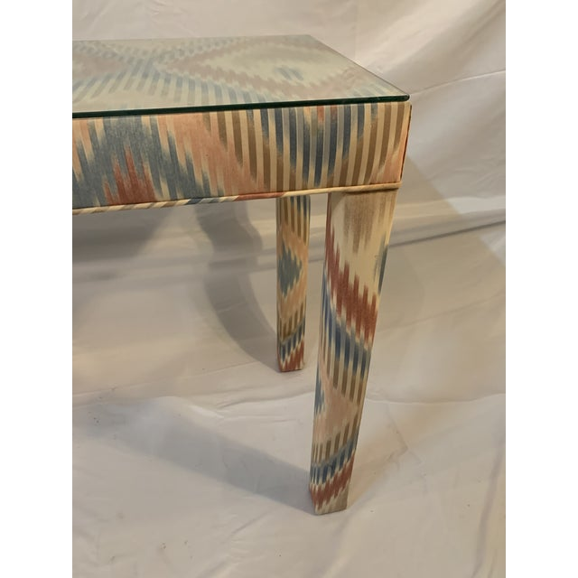 Vintage Upholstered Parsons Console Table For Sale - Image 9 of 13