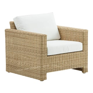 Sixty Lounge Chair - Natural - Tempotest White Canvas Seat and Back Cushion For Sale