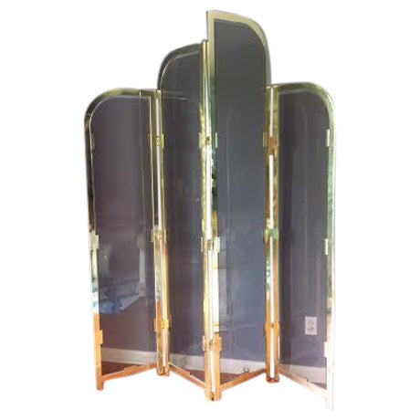 Brass & Smoked Glass Room Divider - Image 1 of 8