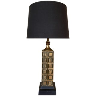 Mid-Century Modern Cubist Chess Motif Table Lamp For Sale