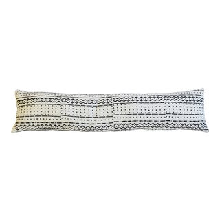 """48"""" Long African Mud-Cloth Lumbar Bolster Feather/Down Textile Pillow For Sale"""