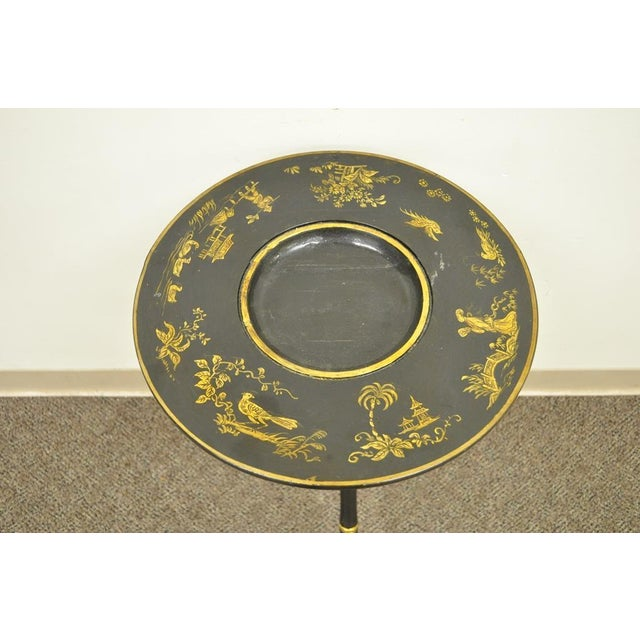 Antique Victorian English Decorated Faux Bamboo Tripod Occasional Side Table For Sale - Image 4 of 11