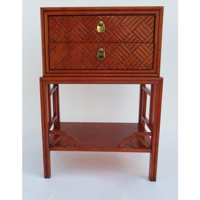C.1970s Vintage Chinoiserie Orange Lacquered Nightstand, Side/End Reading Table by Thomasville For Sale - Image 13 of 13