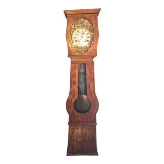 19th Century French Painted Pine Clock For Sale