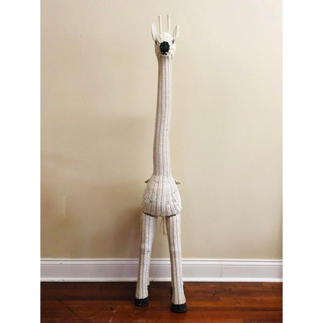 Safari Vintage White Wicker Giraffe Planter For Sale - Image 3 of 12