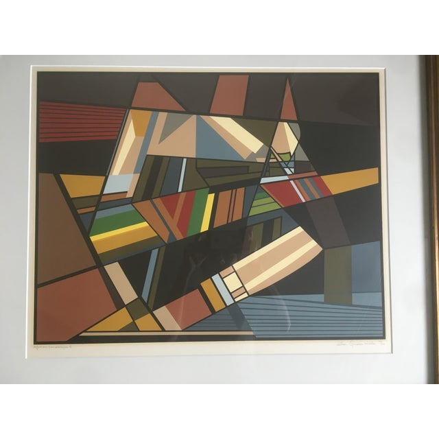 """Mid-Century Modern Vintage Mid-Century Modern Abstract Geometric """"African Landscape I"""" Lithograph Print For Sale - Image 3 of 10"""