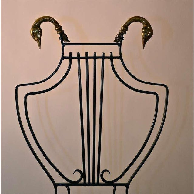 Hollywood Regency Set of Eight Italian Regency Lyre Back Classical Form Dining Chairs For Sale - Image 3 of 5