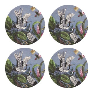 "Summer Palace Pink Gray, 16"" Round Pebble Placemats, Set of 4 For Sale"