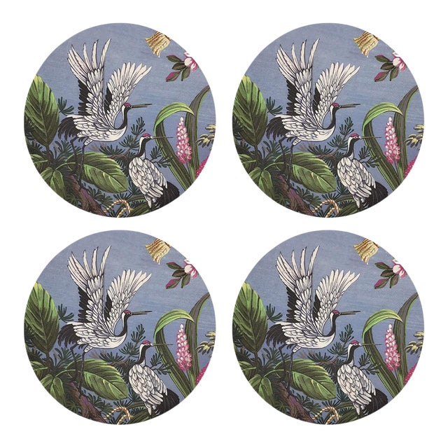 """Summer Palace Pink Gray, 16"""" Round Pebble Placemats, Set of 4 For Sale"""