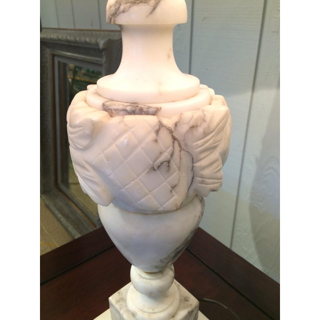 Stone Marble Table Lamps With Custom Shades - A Pair For Sale - Image 7 of 8