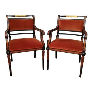 Baker Stately Homes Gilt Regency Upholstered Armchairs- a Pair For Sale