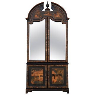 Late 20th Century Black Oriental Vitrine Cabinet For Sale