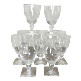Orrefors Vintage Mid Century Modern Square Base Wine Crystal Glasses - Set of 10 For Sale