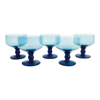 Vintage Blue Coupe Cocktail Glasses - Set of 5