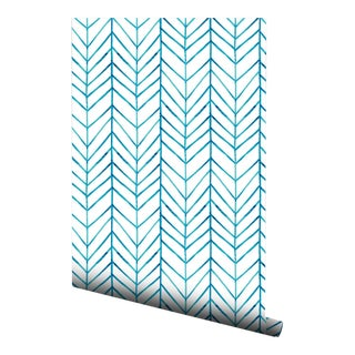 Boho Chic Blue Chevron Pre-Pasted Wallpaper - 2 Piece Set For Sale