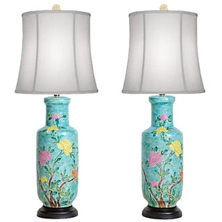 Hand-Painted Japanese Vase Lamps