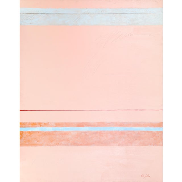Nick Wallis, Parallels on Peach, Acrylic on Canvas, Signed l.r. For Sale